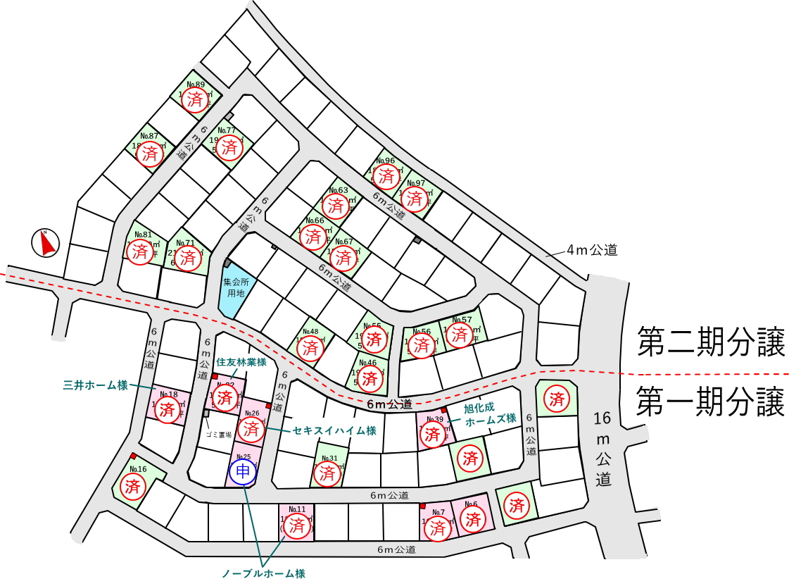 つくば市みどりの南(ブリージアみどりのサウスエリア) 区画図